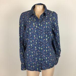 Boden Women's shirt Button Xl Birds Cotton C3-4